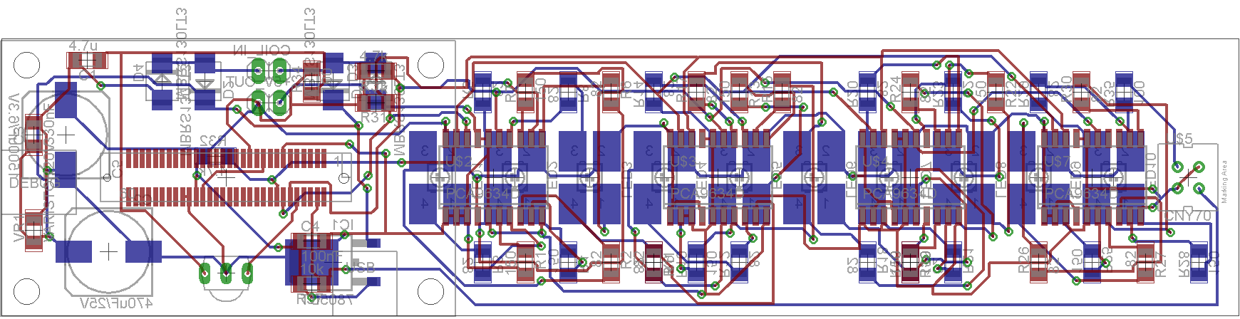 Layout of the PCB.